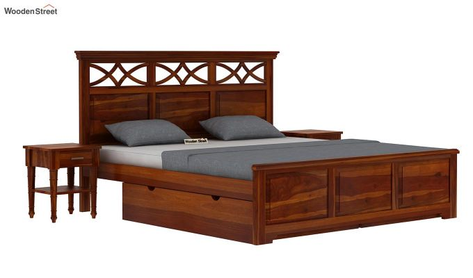 Allan Bed With Storage (Queen Size, Honey Finish)-2