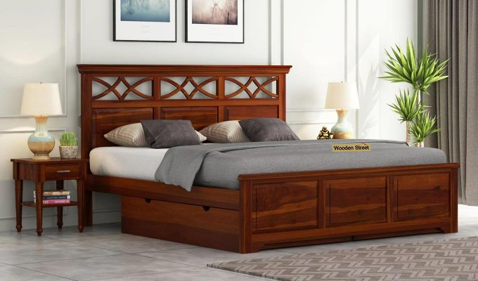 Allan Bed With Storage (King Size, Honey Finish)-1