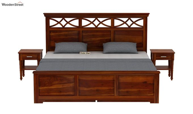 Allan Bed With Storage (King Size, Honey Finish)-3