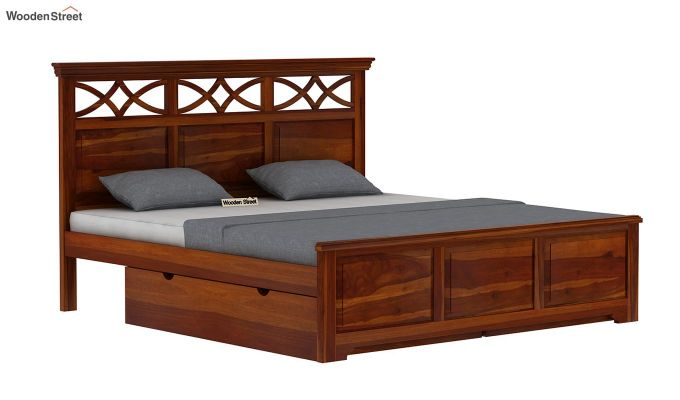 Allan Bed With Storage (King Size, Honey Finish)-4