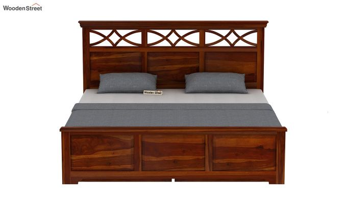 Allan Bed With Storage (King Size, Honey Finish)-5