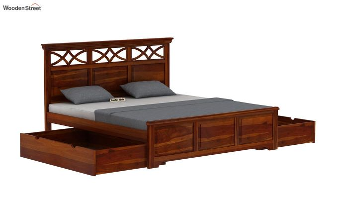 Allan Bed With Storage (King Size, Honey Finish)-6