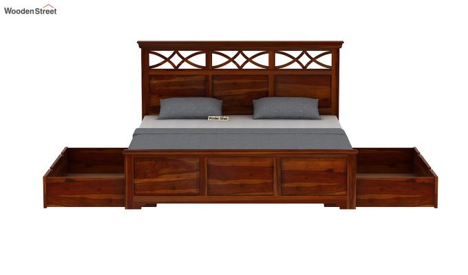 Allan Bed With Storage (King Size, Honey Finish)-7