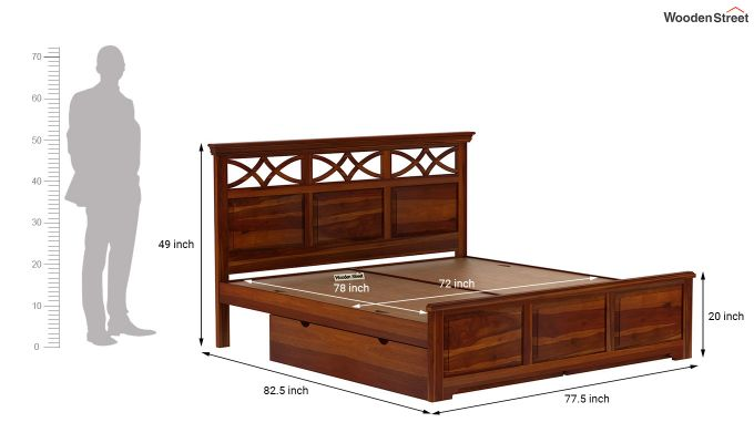 Allan Bed With Storage (King Size, Honey Finish)-9