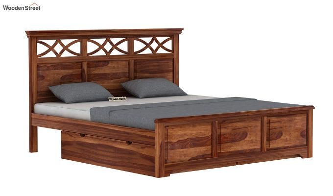 Allan Bed With Storage (King Size, Teak Finish)-4