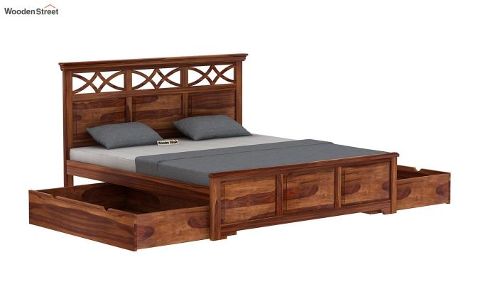 Allan Bed With Storage (King Size, Teak Finish)-6