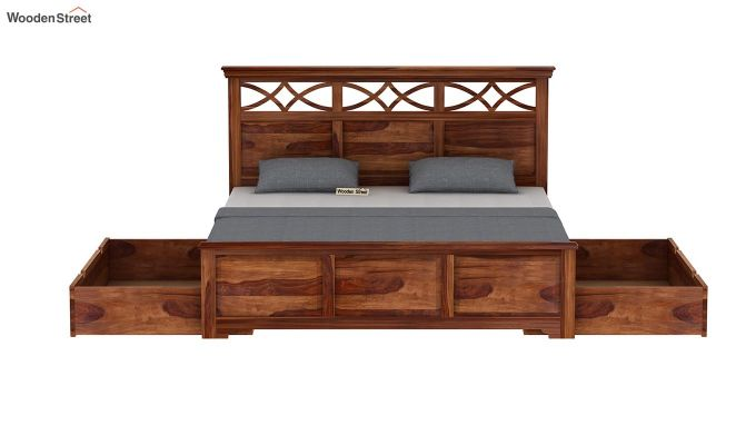 Allan Bed With Storage (King Size, Teak Finish)-7
