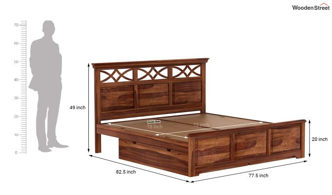 Allan Bed With Storage (King Size, Teak Finish)-9