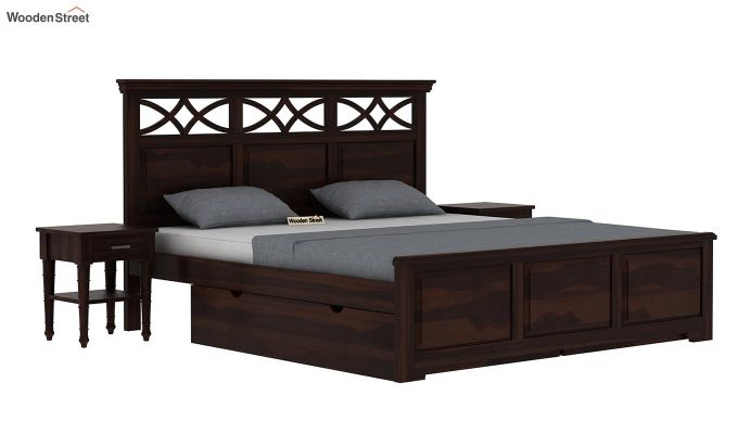 Allan Bed With Storage (Queen Size, Walnut Finish)-2