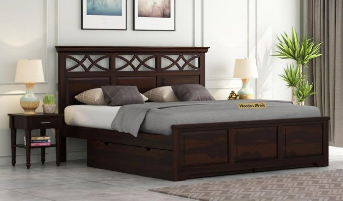 Allan Bed With Storage (Queen Size, Walnut Finish)-1