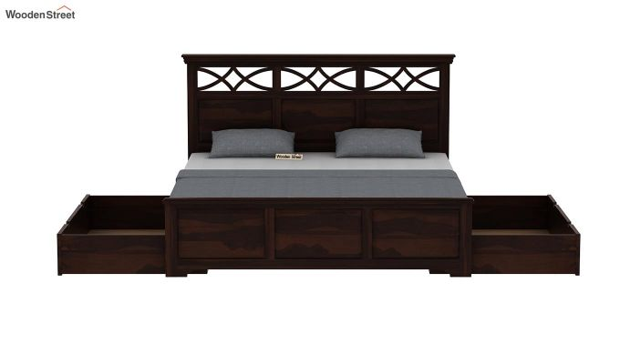 Allan Bed With Storage (Queen Size, Walnut Finish)-7
