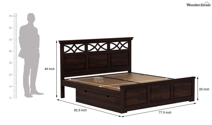 Allan Bed With Storage (King Size, Walnut Finish)-9