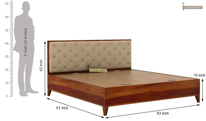 Amiro Bed With Storage Bedside Table (Queen Size, Honey Finish)-14