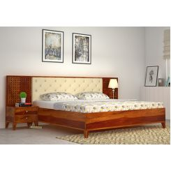 Amiro Bed With Storage Bedside Table (King Size, Honey Finish)