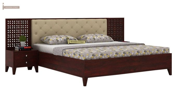 Amiro Bed With Storage Bedside Table (Queen Size, Mahogany Finish)-1