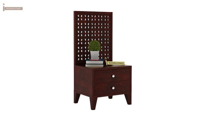 Amiro Bed With Storage Bedside Table (Queen Size, Mahogany Finish)-11