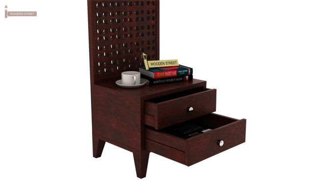 Amiro Bed With Storage Bedside Table (Queen Size, Mahogany Finish)-12