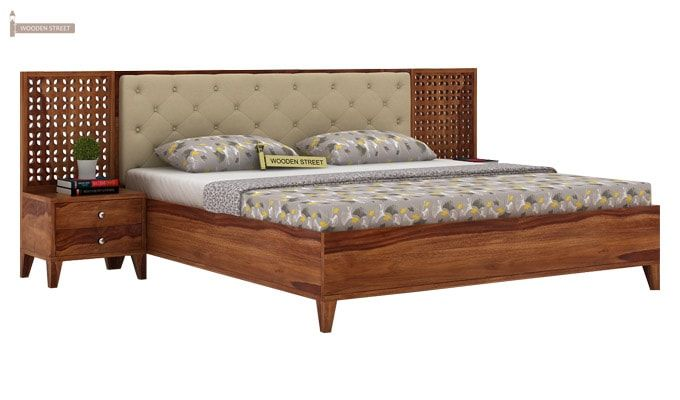 Amiro Bed With Storage Bedside Table (King Size, Teak Finish)-1