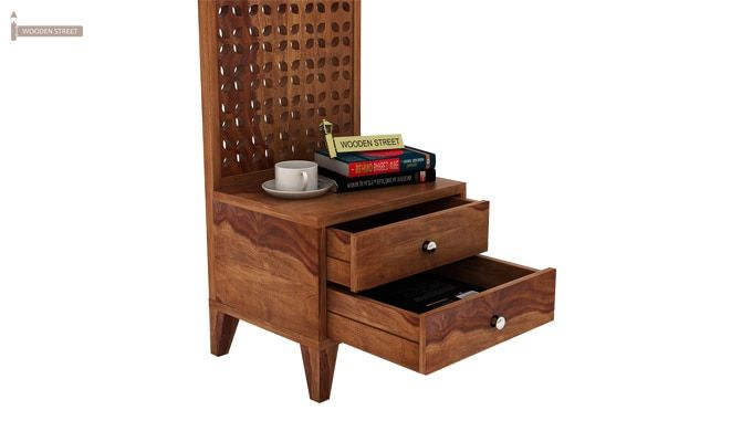 Amiro Bed With Storage Bedside Table (King Size, Teak Finish)-12