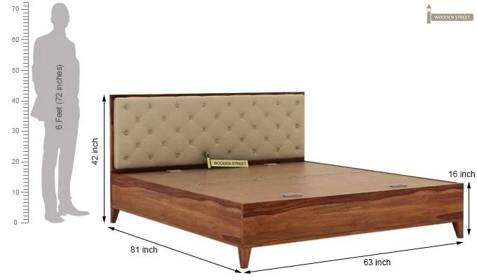 Amiro Bed With Storage Bedside Table (Queen Size, Teak Finish)-14