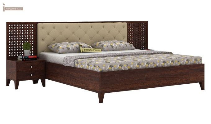 Amiro Bed With Storage Bedside Table (Queen Size, Walnut Finish)-1