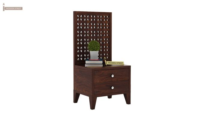 Amiro Bed With Storage Bedside Table (Queen Size, Walnut Finish)-11