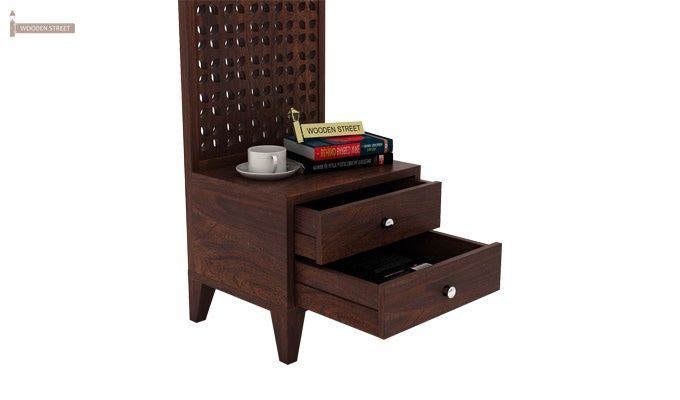 Amiro Bed With Storage Bedside Table (Queen Size, Walnut Finish)-12