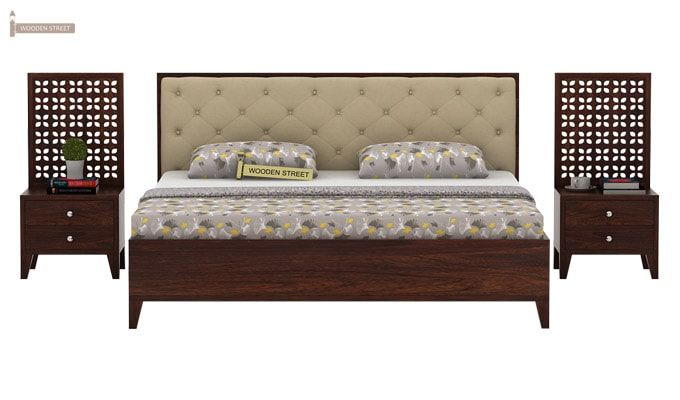 Amiro Bed With Storage Bedside Table (Queen Size, Walnut Finish)-3