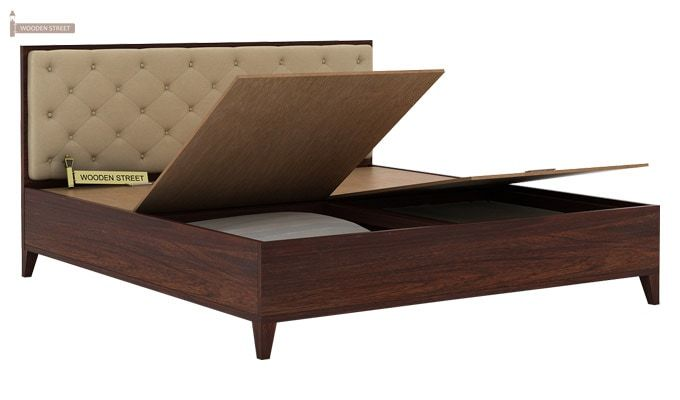 Amiro Bed With Storage Bedside Table (King Size, Walnut Finish)-7