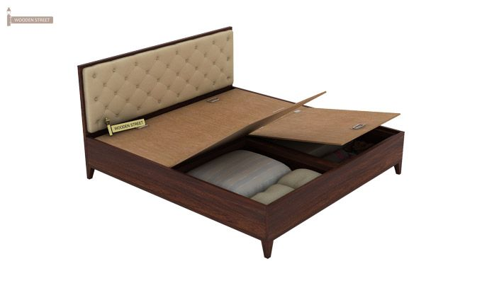 Amiro Bed With Storage Bedside Table (Queen Size, Walnut Finish)-8