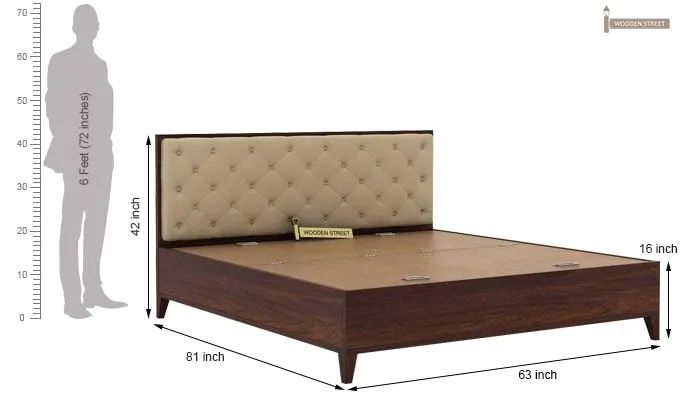 Amiro Bed With Storage Bedside Table (Queen Size, Walnut Finish)-14