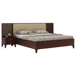 Amiro Bed With Storage Bedside Table (King Size, Walnut Finish)