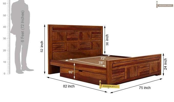 Libron Bed With Storage (King Size, Honey Finish)-14