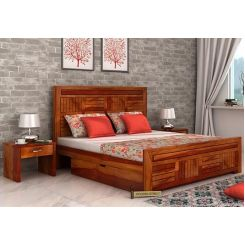 Libron Bed With Storage (Queen Size, Honey Finish)
