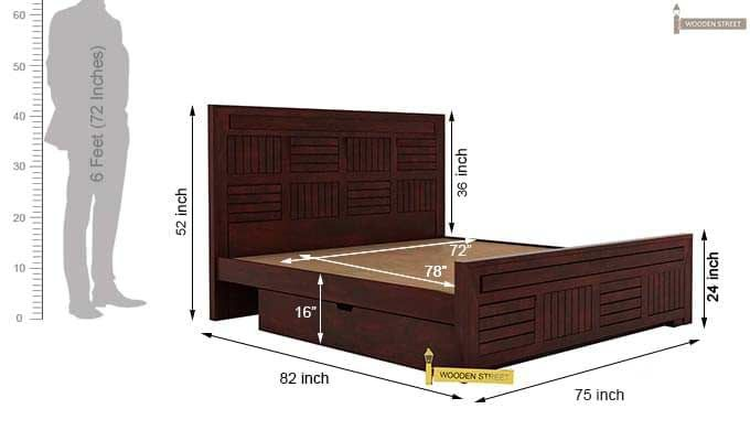 Libron Bed With Storage (King Size, Mahogany Finish)-10
