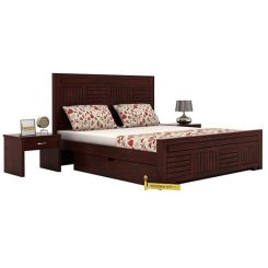 Libron Bed With Storage (Queen Size, Mahogany Finish)