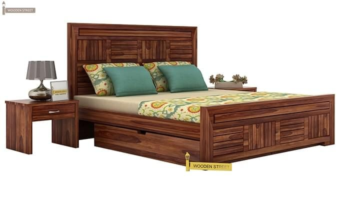 Libron Bed With Storage (Queen Size, Teak Finish)-1