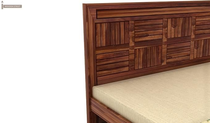 Libron Bed With Storage (Queen Size, Teak Finish)-10