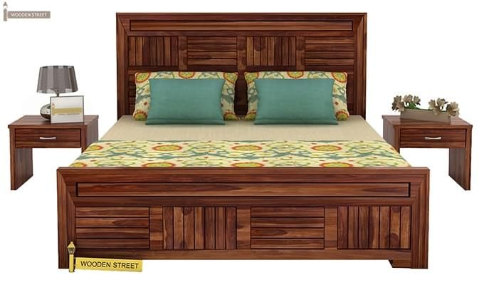 Libron Bed With Storage (Queen Size, Teak Finish)-2