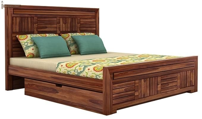 Libron Bed With Storage (Queen Size, Teak Finish)-3