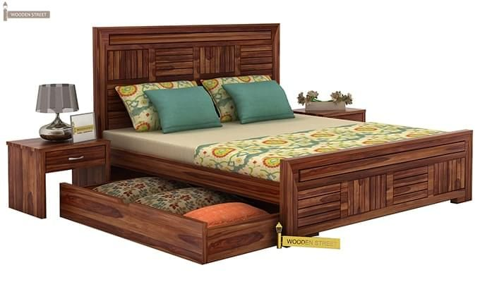 Libron Bed With Storage (Queen Size, Teak Finish)-4