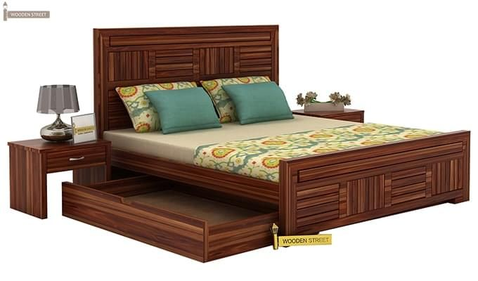 Libron Bed With Storage (Queen Size, Teak Finish)-5