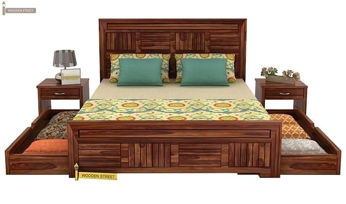 Libron Bed With Storage (Queen Size, Teak Finish)-6