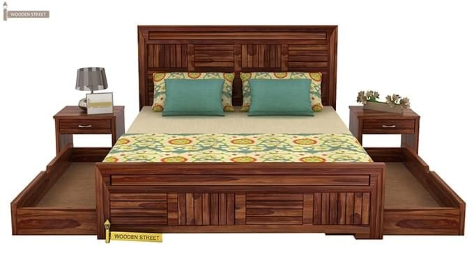 Libron Bed With Storage (Queen Size, Teak Finish)-7