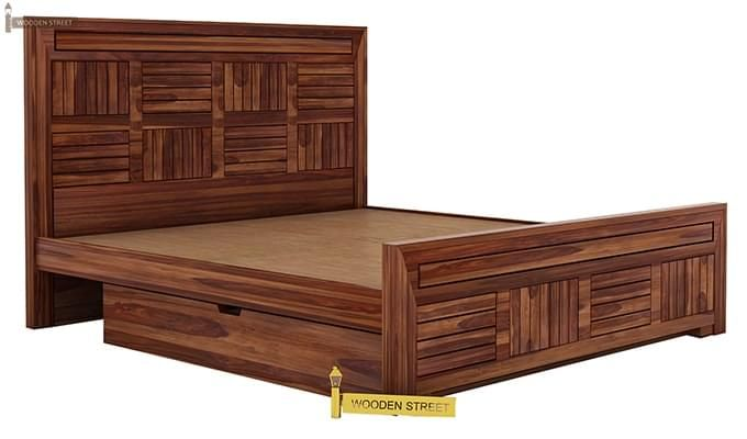 Libron Bed With Storage (Queen Size, Teak Finish)-8