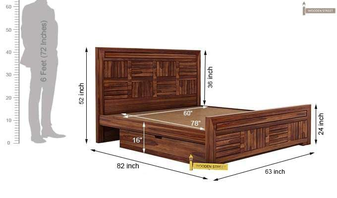 Libron Bed With Storage (Queen Size, Teak Finish)-12