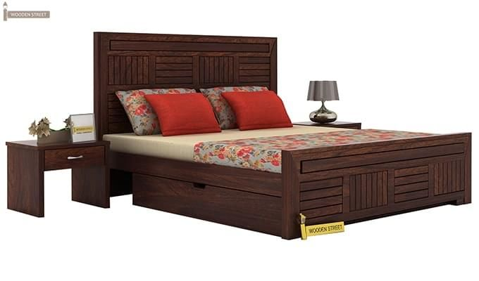 Libron Bed With Storage (Queen Size, Walnut Finish)-1