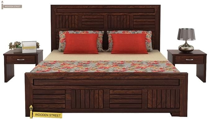 Libron Bed With Storage (King Size, Walnut Finish)-2