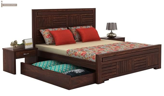 Libron Bed With Storage (King Size, Walnut Finish)-4