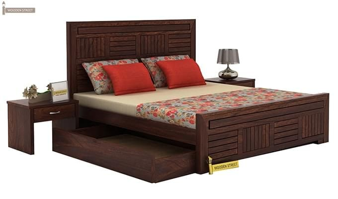 Libron Bed With Storage (King Size, Walnut Finish)-5